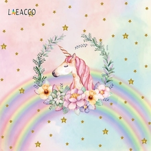 Laeacco Unicorn Party Rainbow Flowers Stars Birthday Photography Backgrounds Customized Photographic Backdrops For Photo Studio