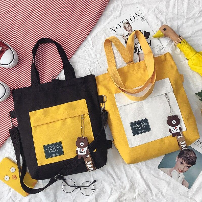 781.32руб. 40% СКИДКА|Дизайнерская женская сумка для покупок в Корейском стиле, сумка через плечо из парусины, многофункциональная сумка для книг для девочек, рюкзак, Новинка|Хозяйственные сумки| |  - AliExpress