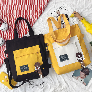 Decor Woman Shopping Bag Korean Style Crossbody Canvas Totes Multi-function Girls Book Backpack New