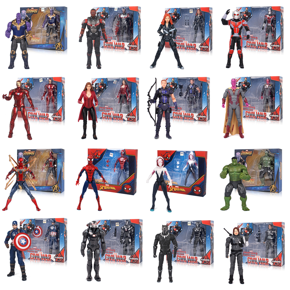 Kids Toys Action-Figure-Model Spider-Man Marvel Avengers The-Amazing Iron Man Captain-America