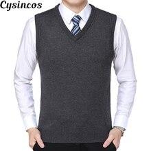 CYSINCOS Новое поступление Одноцветный свитер жилет мужской кашемировый свитер шерстяной пуловер для мужчин бренд с v-образным вырезом без рукавов Джерси Hombre