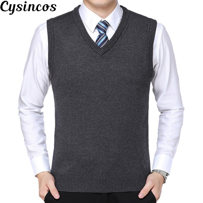 CYSINCOS 2019 New Arrival Solid Color Sweater Vest Men Cashmere Sweater Wool Pullover Men Brand V-Neck Sleeveless Jersey Hombre