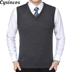 CYSINCOS Sweater Vest Jersey Wool Pullover V-Neck Men Cashmere Sleeveless Brand Solid
