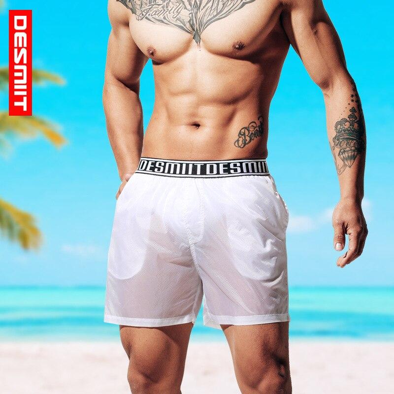 Calças de Praia Novo Cross-border Masculina Sexy Ultra-fino Shorts Semi-transparente Calças Casuais 2020