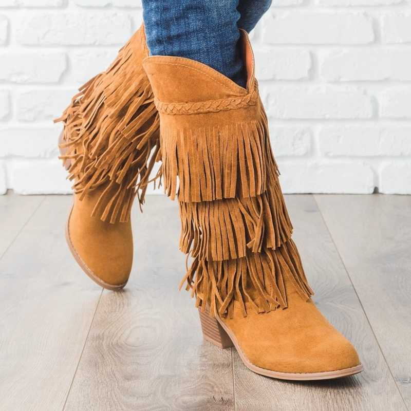 Adisputent Bohemian boho topuk çizme etnik kadınlar püskül saçak Faux süet deri yarım çizmeler kadın kız düz ayakkabı patik