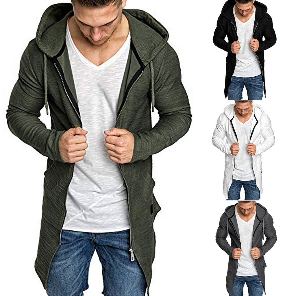 Men Splicing Hooded Solid Trench Long Coat Cardigan Long Sleeve Outwear Blouse