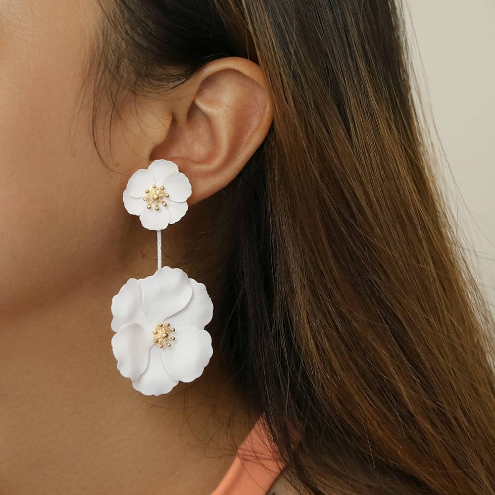 PZMYCS 2019 Shiny Side New Design Fashion Jewelry Elegant Big Double Flower Earrings Korean Beach Party Statement Long Earrings