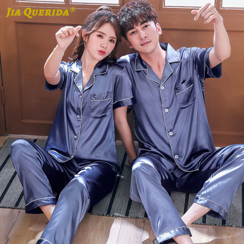 Couple Men And Women Blue Fashion Style Casual Style Short Sleeve Long Pants Turn Down Collar Homesuit Homeclothes Sleepwear