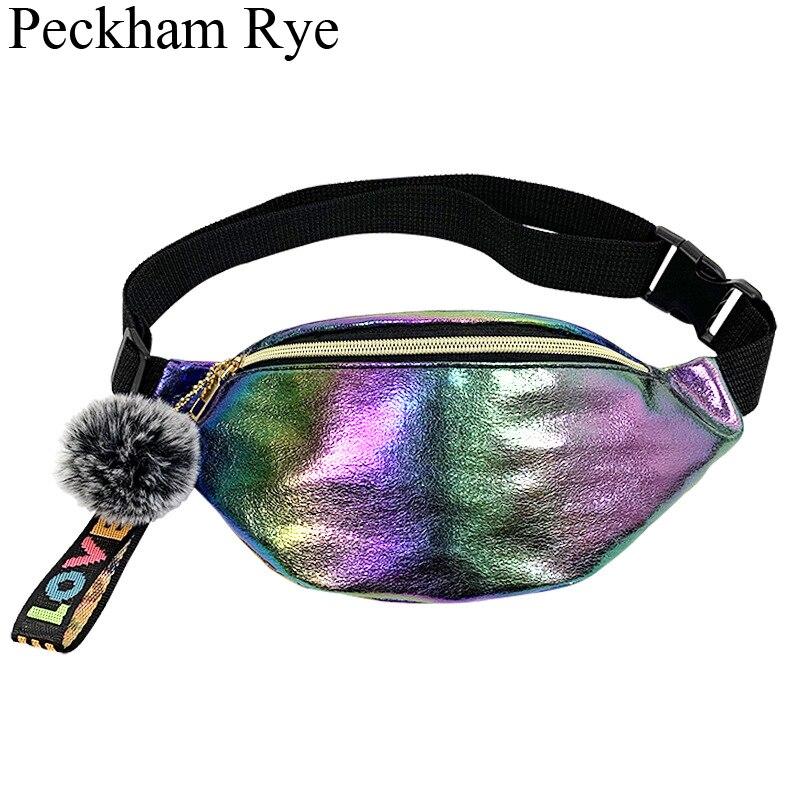 Women's Chest Belt Bag Ladies Waist Bag Leather Fanny Pack Pu Laser Rainbow Purse Waterproof Sport Phone Bags Waist Pack Nerka