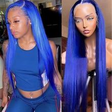 Blauwe Pruik Lace Front Menselijk Haar Pruiken Voor Zwarte Vrouwen 180% Dichtheid T Deel Braziliaanse Remy Pre Geplukt Kant Pruiken gebleekte Knopen