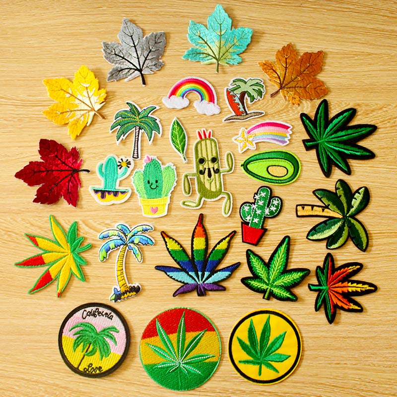 Leaf Cactus Patch DIY Embroidery Iron Patches For Clothing On Clothes Apparel Sewing Decor Applique