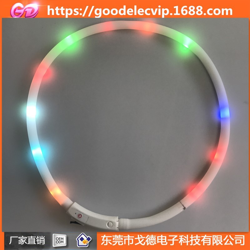 Evening Dog Pet Supplies LED Luminous Collar USB Charging Silica Gel Flash Dog Collar Hand Holding Rope Traction Belt