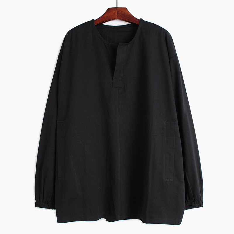 [EAM] Women Black Brief Big Size Blouse New Round Neck Long Sleeve Loose Fit Shirt Fashion Tide Spring Autumn 2020 1R520