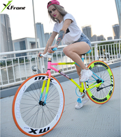 New X front brand colorful carbon steel 26 inch fixed gear rear pedal brake bicicleta student bike road bicycle