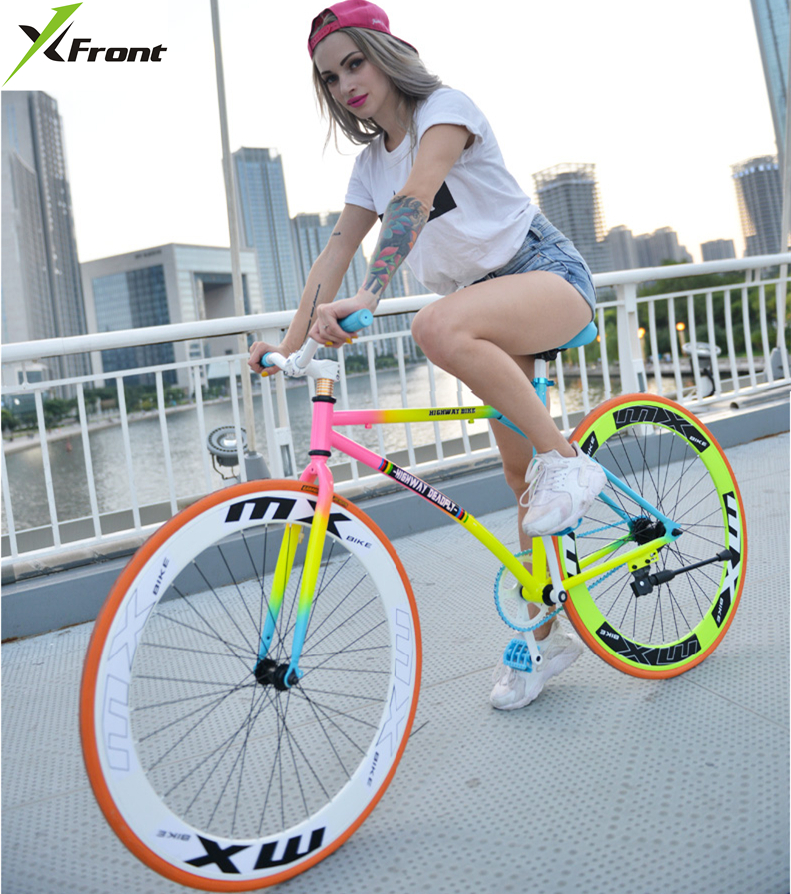 New X-front brand colorful carbon steel 26 inch fixed gear rear pedal brake bicicleta student bike road bicycle image