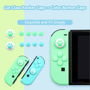 Image 3 - 1Set Silicone Cat Paw Thumb Grip Caps Cover & 8Pcs ABXY Directions Key Buttons Sticker for Nintendo Switch Joy Con Joystick