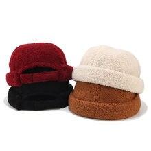 Ягненка кашемировая шапка помещика Для женщин мужская вязаная