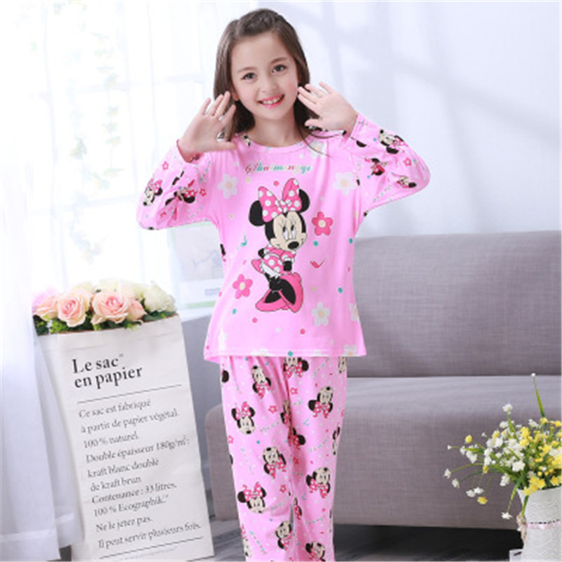 Pajamas   Suits for Girls Boys Long Sleeve Sleepwear   Sets   Cartoon Minnie   Pajamas     Set   Lovely Children's Pyjamas Home Clothes