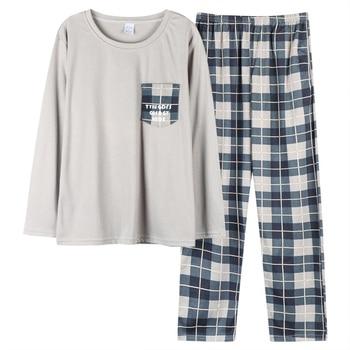 New Autumn Winter Cotton Pyjama Men Pajama Set Fashion Plaid Sleepwear Suit With Pocket Casual Comfortable Sports Warm Outwear 6