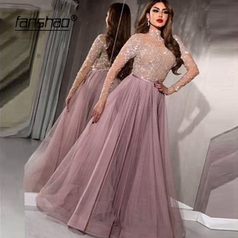 See Through Evening Dress Appliques Beads Illusion Robe De Soiree Pink Evening Dress Prom Dress Abendkleider