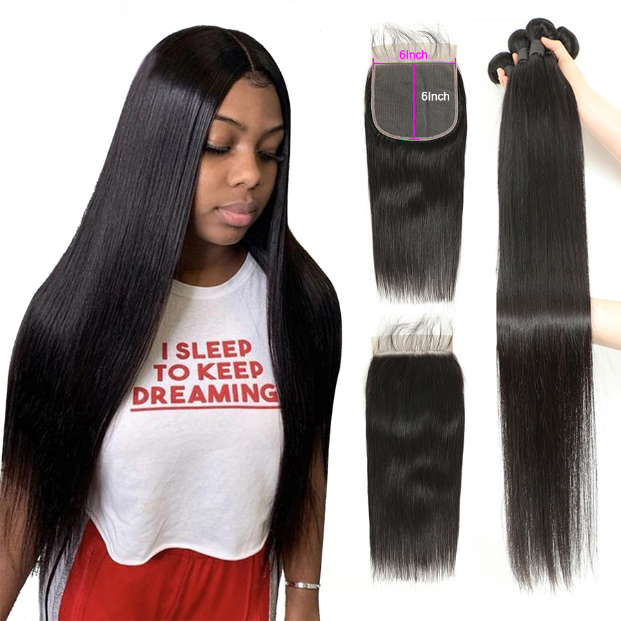 Straight Bundles With Closure 32 36 38 40 inch Brazilian Hair Weave Bundles With Closure Human Hair Bundles And 6x6 Lace Closure