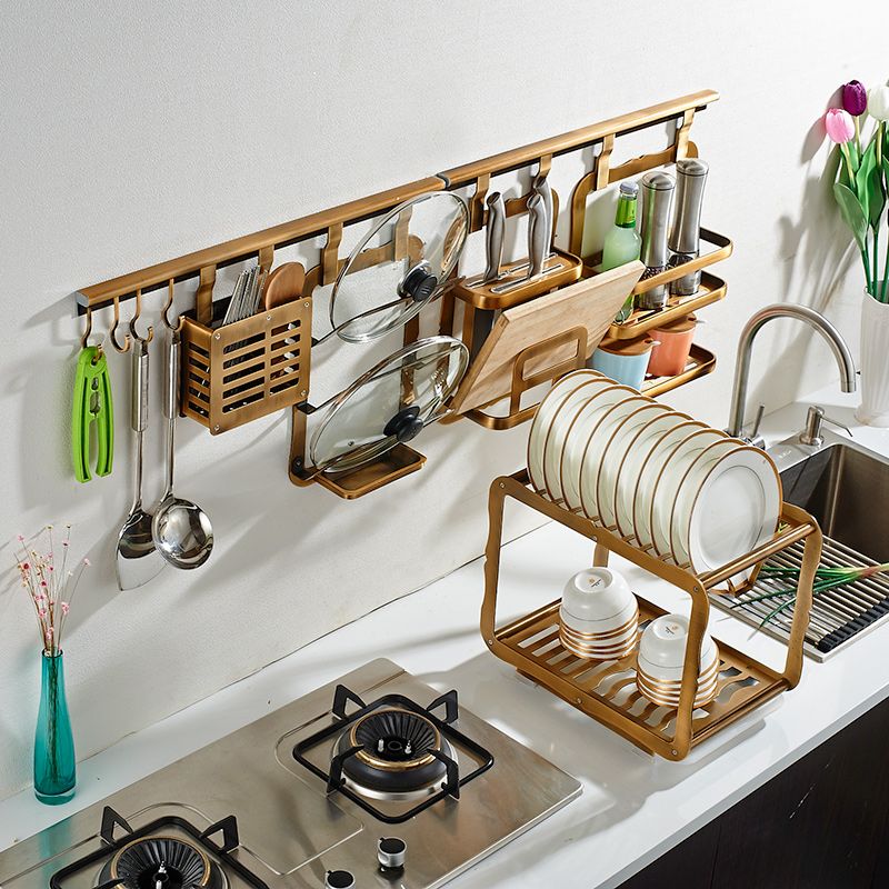 Multi-Purpose Kitchen Wall Pot Rack With Hooks, Drill-free Wall Mounted Storage Shelf Organizer For Kitchen Cookware, Utensils,