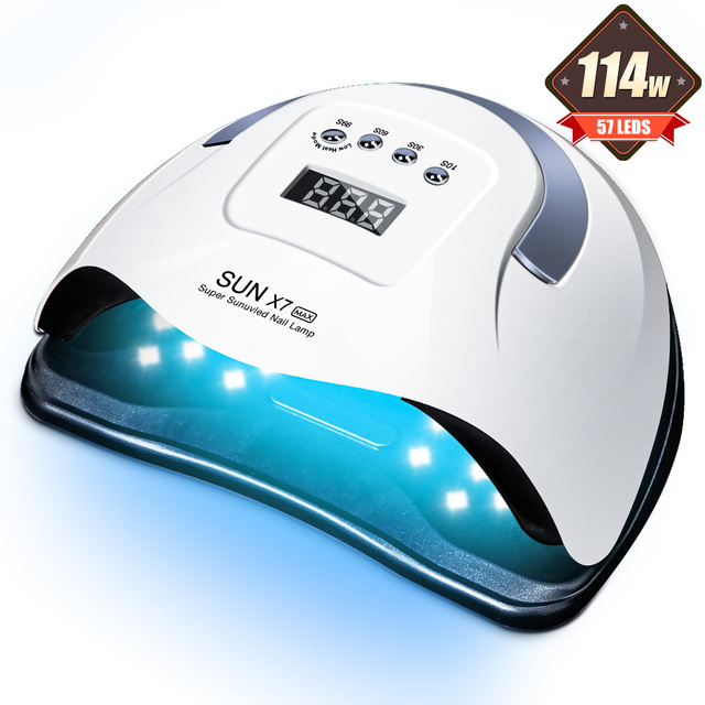 114W SUN X7 MAX UV LED Lamp for Manicure Nail Lamps Nail Dryer for Curing UV Gel Varnish Nail Tools With Sensor LCD Display