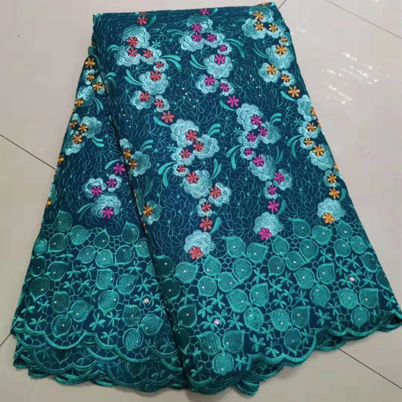 Best Selling Dark Green African Nigerian Wax George Guipure Lace Fabric French Voile Lace Fabric 5 Yards/Lot