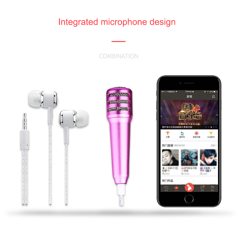 New Mini Microphone With Earphone Professional Mini K Song Recording Mic Microphone With Earphones For Phone Computer Hi 888