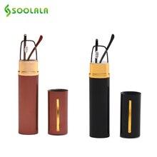 SOOLALA 2 шт Портативные мини-очки для чтения с металлической ручкой для женщин и мужчин, ультралегкие очки для чтения при дальнозоркости с ручкой, чехол+ от 1,0 до 4,0