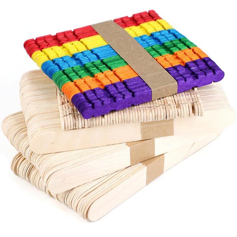 50Pcs/Lot DIY Kids Handwork Art Crafts Toys Wooden Craft Ice Cream Sticks Pop Popsicle Sticks Natural Wood Cake Tools