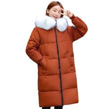 プラスサイズ 5XL 6XL 7XL冬コート女性フード付きの毛皮襟オーバーサイズルーズ冬のジャケットの女性ロングパーカービッグサイズダウンジャケット