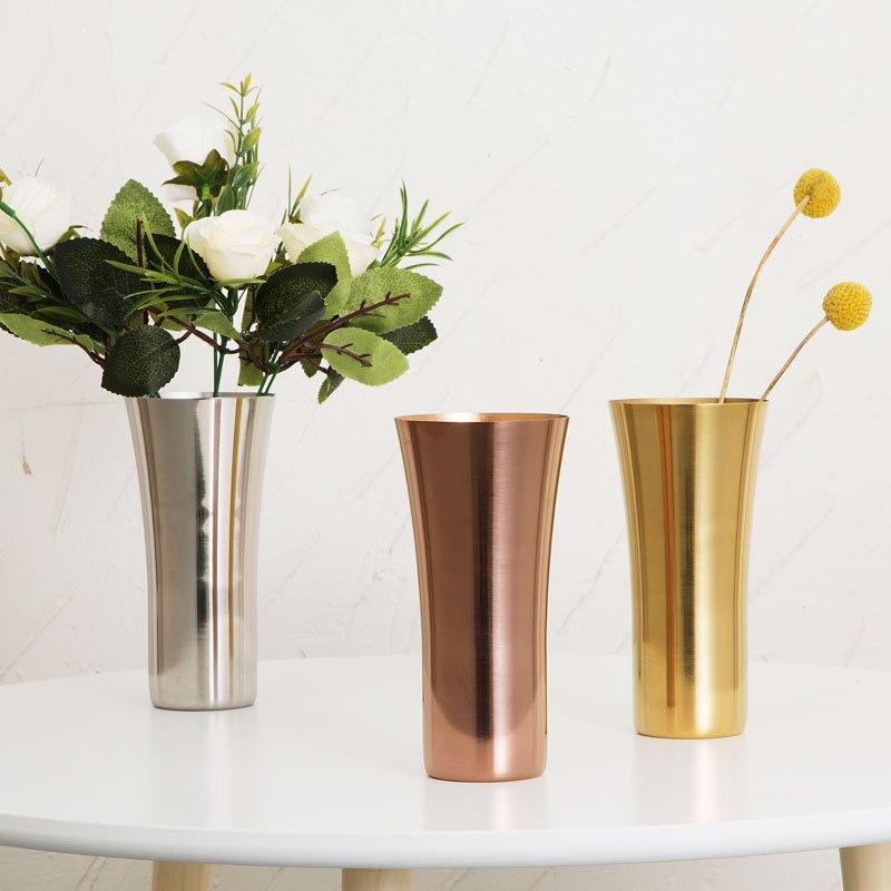 Stainless Steel Water Cup Beer Coffee Mug Flower Vase Home Desktop Decorative Supplies