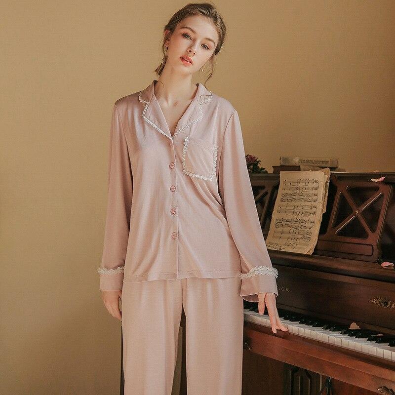 Pajamas Women Casual Fashion Long Sleeve Pajamas Set INS Lady Sleepwear Lace Modal Pajamas For Women