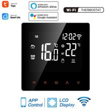 WiFi inteligentny termostat regulator temperatury do wody elektryczne ogrzewanie podłogowe kocioł gazowy współpracuje z aplikacją Alexa Google Home Tuya tanie tanio NONE CN (pochodzenie) Wi-Fi smart thermostat anti-flammable PC 110-230V AC 50 60HZ 16A 3A 1℃ 5-95℃ Touch Key 86 * 86 * 40mm 3 4 * 3 4 * 1 6in