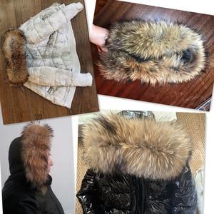 Image 2 - Natural Fur Collar 100% real Raccoon Fur Scarf For Mens Womens kids Parkas Coats Male furs Collars Black 50 60 70 90 cm