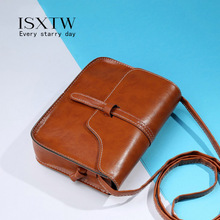 цены ISXTW Small Square Women Bag Fashion Handbag Retro Solid Shoulder Bag Leather Famous Brands Simple Crossbody  Mobile Phone /A34