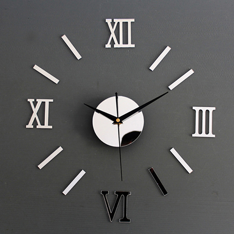 Wall-Clock Sticker Home-Mirror-Effect Interior Custom-Size Roman Modern DIY 3D 30-70cm title=
