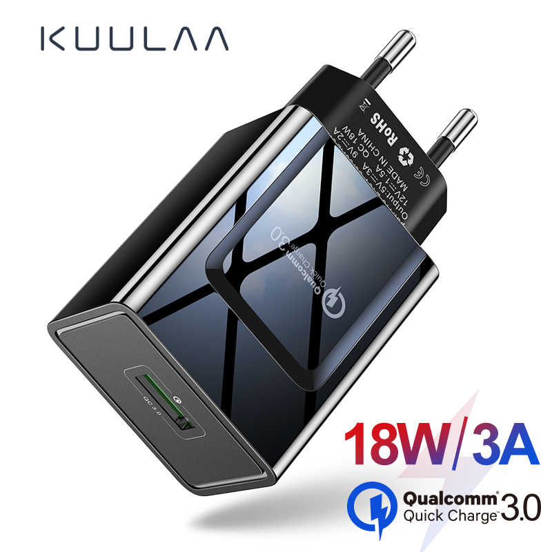 KUULAA سريعة تهمة 3.0 الهاتف المحمول شاحن شاحن يو اس بي الاتحاد الأوروبي التوصيل 18W QC 3.0 سريع شاحن هواتف xiaomi Redmi 5 samsung galaxy s9