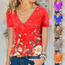New Women's Summer Printed Butterfly T Shirt Fashion Casual V Neck Plus Size Female Short Sleeve Tops S-3XL