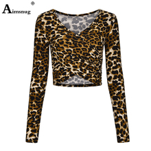 Aimsnug Leopard Criss-Cross Slim Camis Fitted Top Women Long Sleeve Sexy Deep V Neck Wrap Short T-shirt Autumn Cute Shirt недорого