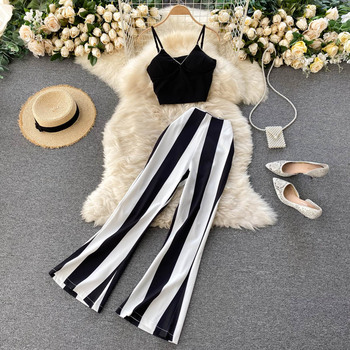 FMFSSOM 2021 Women Suit 2 Piece Set Short High Waist Black and White Striped Wide Leg Pants Sexy Party Club 1