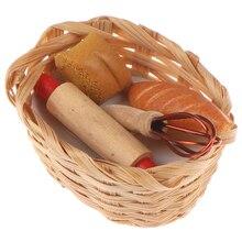 1:12 кукольный домик миниатюрный инструмент для еды хлеб тост хот-дог с корзиной столовая пекарня кондитерские изделия кухня украшения ролевые игры игрушки