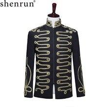 Chaqueta Shenrun negra con cremallera para hombre, vestido completo militar de corte con cuello levantado para cantante o bailarina, chaqueta de moda, traje para escenario de Fiesta de DJ