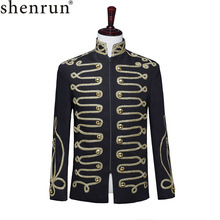 Shenrun Men Black Zipper Blazer Court Military Full Dress Stand Collar Host Singer Dancer Fashion Jacket DJ Party Stage Costume