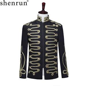 Image 1 - Shenrun Men Black Zipper Blazer Court Military Full Dress Stand Collar Host Singer Dancer Fashion Jacket DJ Party Stage Costume