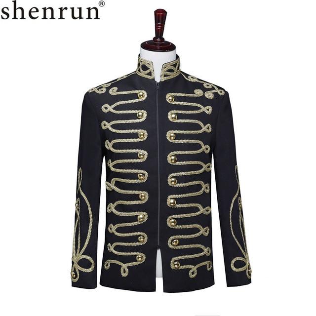 Shenrun Men Black Zipper Blazer Court Military Full Dress Stand Collar Host Singer Dancer Fashion Jacket DJ Party Stage Costume