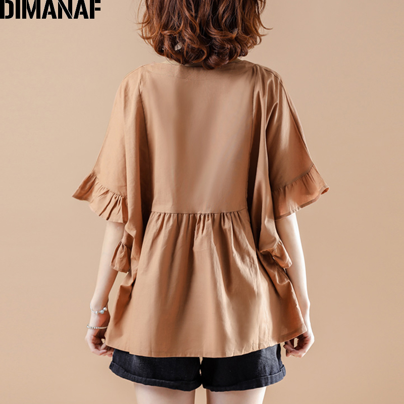 DIMANAF Summer Plus Size Blouse Shirts Women Clothing Oversize Pleated Ruffles Cotton Elegant Lady Tops Tunic Casual Loose Solid