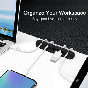 Image 5 - FONKEN USB Cable Organzier Silicone Charging Cable Winder Mouse Cable Holder Office Desk Arrange Flexible Cable Management Clip