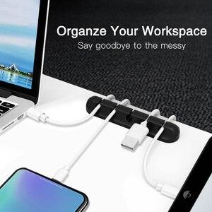 Image 5 - FONKEN USB câble organisateur Silicone câble de charge enrouleur souris porte câble bureau bureau organiser Flexible câble pince de gestion